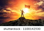 businessman with flag on... | Shutterstock . vector #1100142530