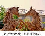 exhibit of two horses made of...   Shutterstock . vector #1100144870