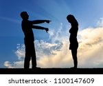 a silhouette of a man showing a ... | Shutterstock . vector #1100147609