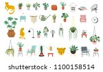urban jungle  trendy home decor ... | Shutterstock .eps vector #1100158514