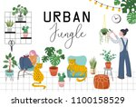 urban jungle  trendy home decor ... | Shutterstock .eps vector #1100158529