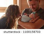 the mother and father embracing ... | Shutterstock . vector #1100158703