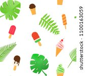 ice cream and tropical leaves... | Shutterstock .eps vector #1100163059