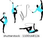 rhythmic gymnastics silhouettes ... | Shutterstock .eps vector #1100168126