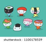 set of funny sushi characters.... | Shutterstock .eps vector #1100178539