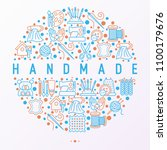 handmade concept in circle with ... | Shutterstock .eps vector #1100179676
