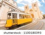 vintage tram transportation in... | Shutterstock . vector #1100180393