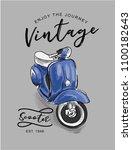vintage scooter illustration | Shutterstock .eps vector #1100182643