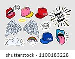 comic youth stickers  patches...   Shutterstock .eps vector #1100183228