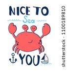 hand drawing crab illustration... | Shutterstock .eps vector #1100189810
