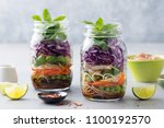 healthy asian salad with... | Shutterstock . vector #1100192570
