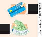 cash money euro banknotes and... | Shutterstock . vector #1100208056