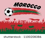 morocco flag colors with soccer ... | Shutterstock .eps vector #1100208386