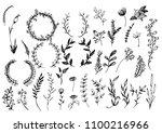 hand sketched vector vintage... | Shutterstock .eps vector #1100216966