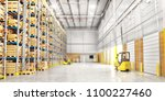 modern warehouse full of... | Shutterstock . vector #1100227460