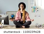 shot of pretty young business... | Shutterstock . vector #1100239628