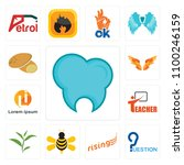 set of 13 simple editable icons ... | Shutterstock .eps vector #1100246159