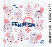 feminism poster  women's faces...   Shutterstock .eps vector #1100246279