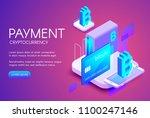 bitcoin card payment vector...   Shutterstock .eps vector #1100247146