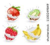 vector set of juicy summer... | Shutterstock .eps vector #1100249849