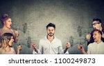 impassive meditating young... | Shutterstock . vector #1100249873