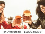 girls drinking beer and... | Shutterstock . vector #1100255339