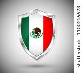 mexico flag on metal shiny... | Shutterstock .eps vector #1100256623