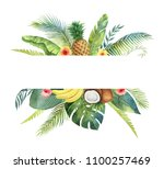 watercolor banner tropical... | Shutterstock . vector #1100257469