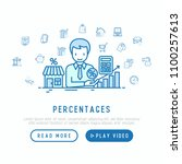 percentages concept  manager... | Shutterstock .eps vector #1100257613