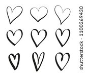 set of hand drawn hearts  ... | Shutterstock .eps vector #1100269430