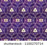 gold violet seamless sacred...   Shutterstock .eps vector #1100270714