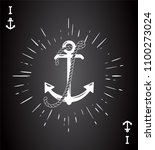 vintage label with an anchor... | Shutterstock .eps vector #1100273024