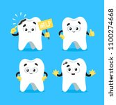 cute teeth characters. healthy...   Shutterstock .eps vector #1100274668