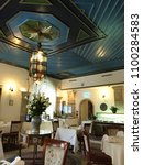 Small photo of JERUSALEM, MAY 9, 2018: The Arabesque Dining Room at the American Colony Hotel. The historic building previously housed the utopian American-Swedish community known as the American Colony.