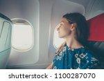 handsome female airplane... | Shutterstock . vector #1100287070