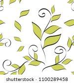 leaves seamless pattern vector... | Shutterstock .eps vector #1100289458
