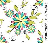 flowers seamless pattern vector ... | Shutterstock .eps vector #1100289500