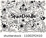 hand drawn space elements... | Shutterstock .eps vector #1100292410