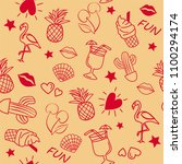 seamless summer pattern with... | Shutterstock .eps vector #1100294174