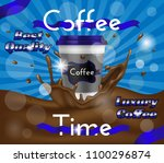 luxury coffee time ad poster ... | Shutterstock .eps vector #1100296874