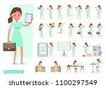 worker woman character vector... | Shutterstock .eps vector #1100297549