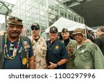Small photo of New York, NY - May 28, 2018: Veterans Stanley Wright, Nick Terranova, Darell Delong, George Arnone, Lawrence Lynch attend Memorial Day celebration at Intrepid Sea, Air & Space Museum