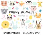 collection of cute kids animals ... | Shutterstock .eps vector #1100299190
