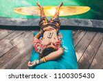 hipster guy with long hair and... | Shutterstock . vector #1100305430