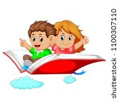 vector illustration of happy... | Shutterstock .eps vector #1100307110