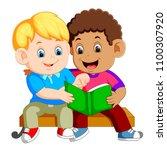 vector illustration of two boys ... | Shutterstock .eps vector #1100307920