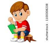 vector illustration of cute boy ... | Shutterstock .eps vector #1100308238