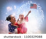 patriotic holiday. happy kid ... | Shutterstock . vector #1100329088