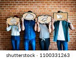 friends holding social media... | Shutterstock . vector #1100331263