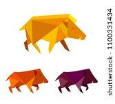 low poly wild boar. polygonal... | Shutterstock .eps vector #1100331434